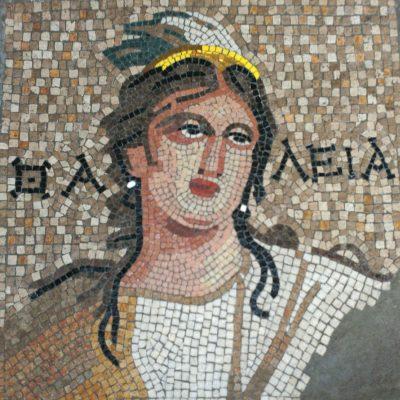 Realizado en técnica mixta, en Opus Vermiculatum y en Opus Tessellatum. Reinterpretación de un fragmento del mosaico encontrado en Zeugma (Turquía) del Siglo II A.C. Representación de Calíope, era la mayor de las nueve musas, y estaba relacionada con la poesía épica, la elocuencia y las artes. Se representa con las características de una muchacha de aire majestuoso, con una corona dorada para indicar su supremacía sobre las demás musas.