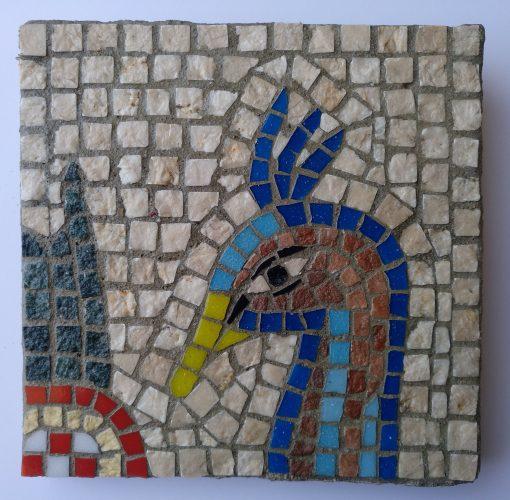 mosaico pavo real, mosaico romano de la cabeza de un pavo real