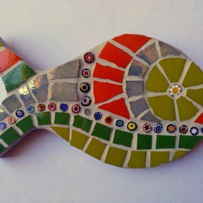 mosaico pez murrine verde naranja