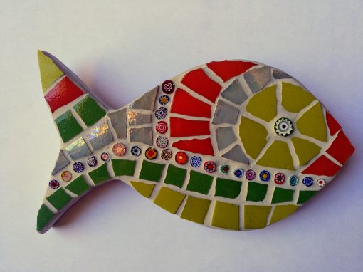 mosaico pez murrine verde rojo