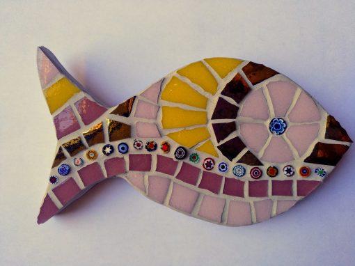 mosaico pez murrine rosa